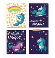 Set of Unicorn cards Childish background with vector image