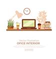 colorful office desk closeup vector image