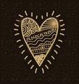 golden love heart romantic passion emotion vector image
