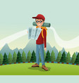 man hiking nature excursion backpack glasses map vector image