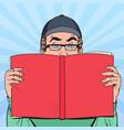 pop art surprised man reading book vector image