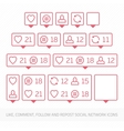 Red like follower comment icon vector image