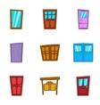 Front door icons set cartoon style vector image vector image