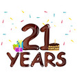 21st anniversary celebration design with gift box vector image