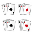 sets of playing cards with four aces eps10 vector image
