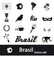 black brazil icons and symbols set eps10 vector image