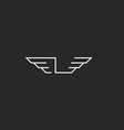 Letter L logo wings monogram graphic shape thin vector image vector image