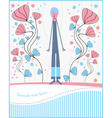 postcard with boy and flowers vector image vector image