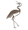 crane looking up done in retro woodcut style vector image
