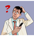 cartoon man with phone puzzled question vector image