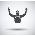 Football fan with hands up icon vector image