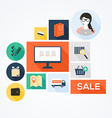 Flat design stylish concept with icons of re vector image