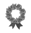 Funeral wreath icon in monochrome style isolated vector image