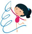 girl playing gymnastic with ribbon vector image