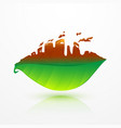 green leaf and dead leaf with factory shape vector image