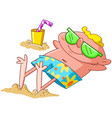 man lying on beach vector image
