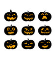 set of black silhouette pumpkins with eyeball vector image