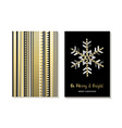 Luxury gold Christmas card design of snowflake vector image vector image