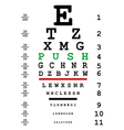 Optical eye test with push message vector image vector image