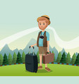 man bearded with camera suitcase baggage hat vector image