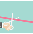 Hand scissors cut the straight ribbon left Opening vector image