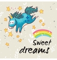 Sweet dreams card with cute unicorn vector image