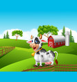 Cartoon funny cow in the farm landscape background vector image