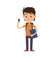 boy happy student young kid vector image
