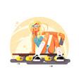 girl skateboarder sit on skateboard design flat vector image