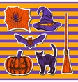 Hand drawn halloween set of stickers vector image