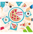 hands pizza time vector image