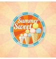 Summer sweet ice cream retro background vector image