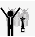 businessman and trophy icon vector image