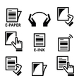 E-paper e-ink technology display device icons set vector image vector image