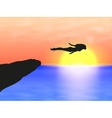 Female silhouette on sunset at sea vector image