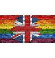 Brick Wall Great Britain and Gay flags vector image