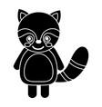 cute raccoon animal standing cartoon wildlife vector image