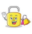 shopping yellow lock character mascot vector image