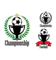 Soccer championship badges with ball and cup vector image
