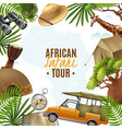 safari realistic with accessories frame vector image
