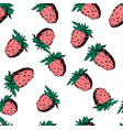 raspberry seamless pattern on white vector image