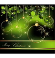 Merry Christmas background gold and green vector image