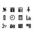 Silhouette Mobile phone performance icons vector image