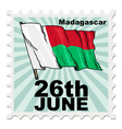 post stamp of national day of Madagascar vector image