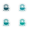 assembly realistic sticker design on paper wi-Fi vector image
