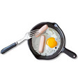 Breakfast Poster Fried eggs and sausage on pan vector image
