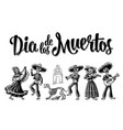 dia de los muertos the skeleton in mexican vector image
