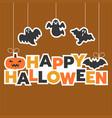 happy halloween hanging headline with ghost vector image