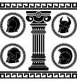 ancient helmets stencil vector image vector image