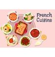 French cuisine dishes for restaurant menu design vector image